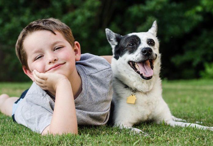 Mały chłopiec płaci ze swoim psem