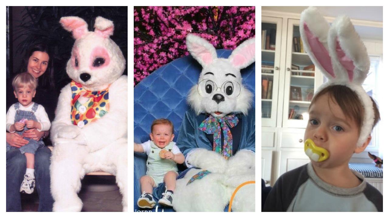 Kolaż dzieci przestraszonych przez Zajączka Wielkanocnego